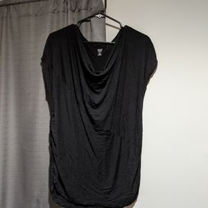 Black slouch neck tee